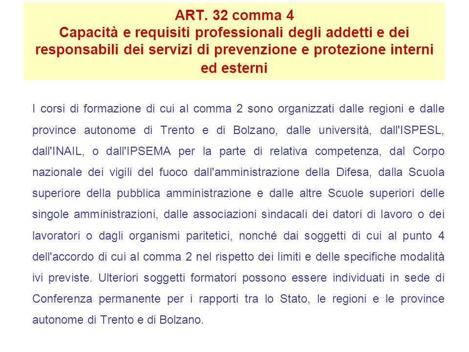 ART. 32 comma 4 Capacità e requisiti professionali degli addetti e dei responsabili dei servizi di prevenzione e protezione interni ed esterni I corsi