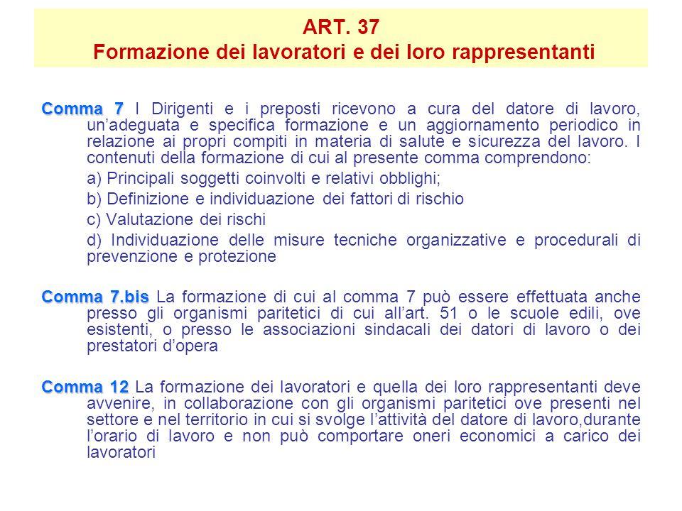 ART. 37 Formazione dei lavoratori e dei loro rappresentanti Comma 7 Comma 7 I Dirigenti e i preposti ricevono a cura del datore di lavoro, un'adeguata