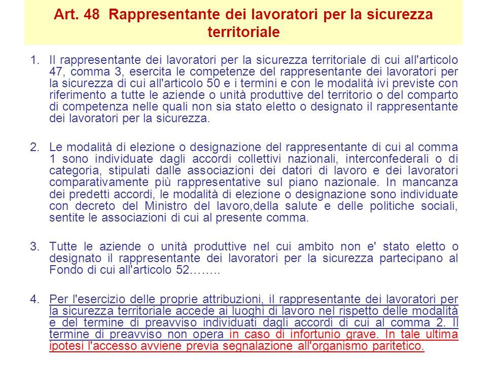 Art. 48 Rappresentante dei lavoratori per la sicurezza territoriale 1.Il rappresentante dei lavoratori per la sicurezza territoriale di cui all'artico