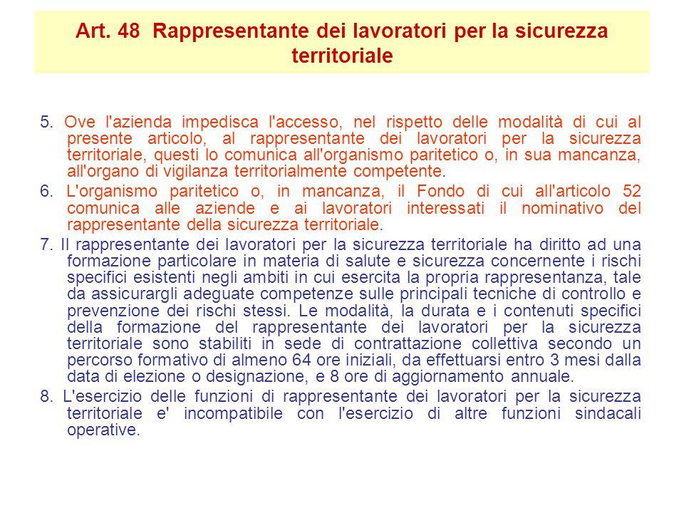 5. Ove l'azienda impedisca l'accesso, nel rispetto delle modalità di cui al presente articolo, al rappresentante dei lavoratori per la sicurezza terri