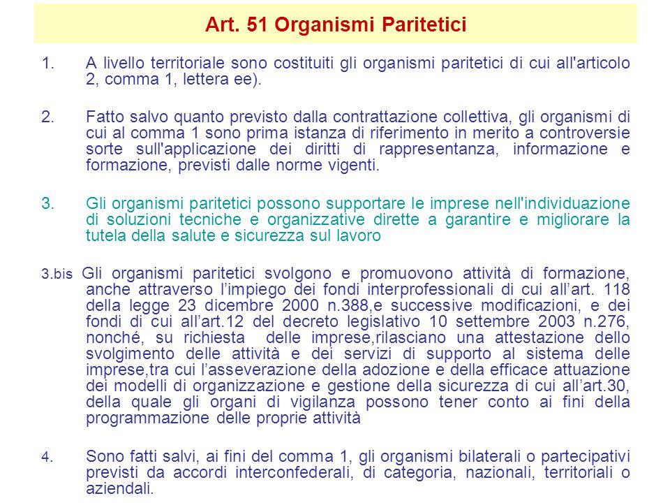 Art. 51 Organismi Paritetici 1.A livello territoriale sono costituiti gli organismi paritetici di cui all'articolo 2, comma 1, lettera ee). 2.Fatto sa