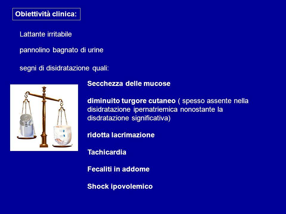 Obiettività clinica: Lattante irritabile pannolino bagnato di urine segni di disidratazione quali: Secchezza delle mucose diminuito turgore cutaneo (