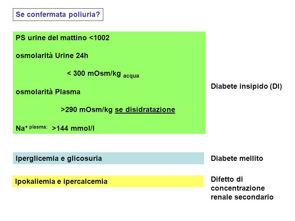 Se confermata poliuria? PS urine del mattino <1002 osmolarità Urine 24h < 300 mOsm/kg acqua osmolarità Plasma >290 mOsm/kg se disidratazione Na + plas