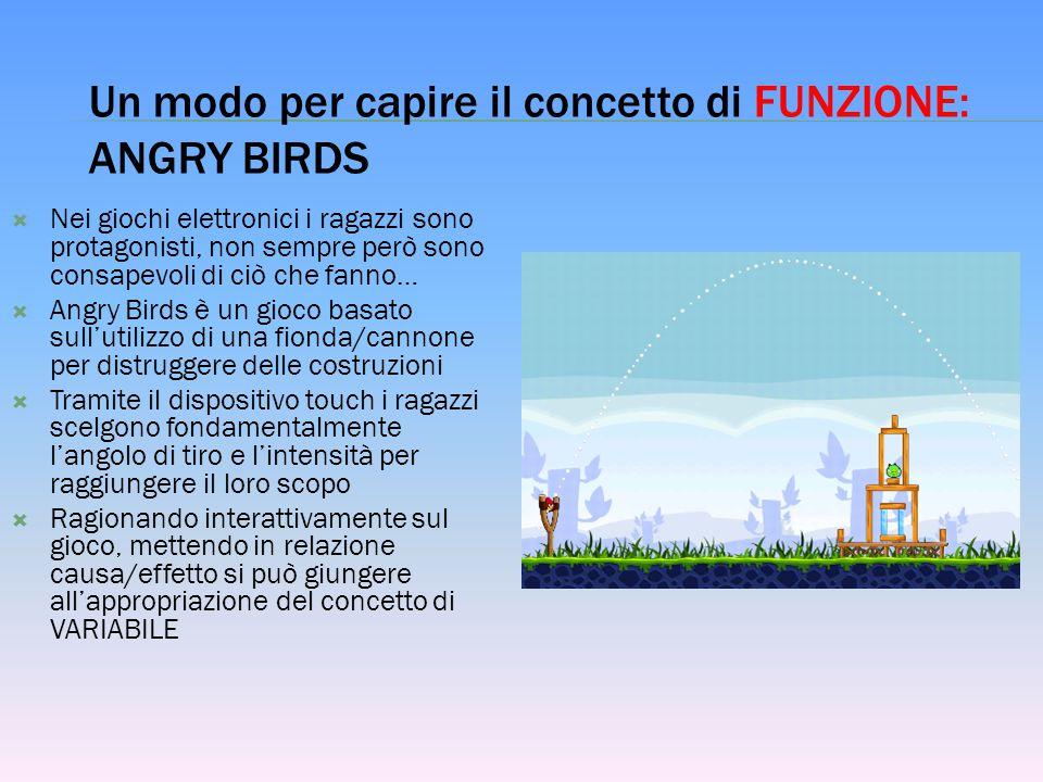 Un modo per capire il concetto di FUNZIONE: ANGRY BIRDS  Nei giochi elettronici i ragazzi sono protagonisti, non sempre però sono consapevoli di ciò