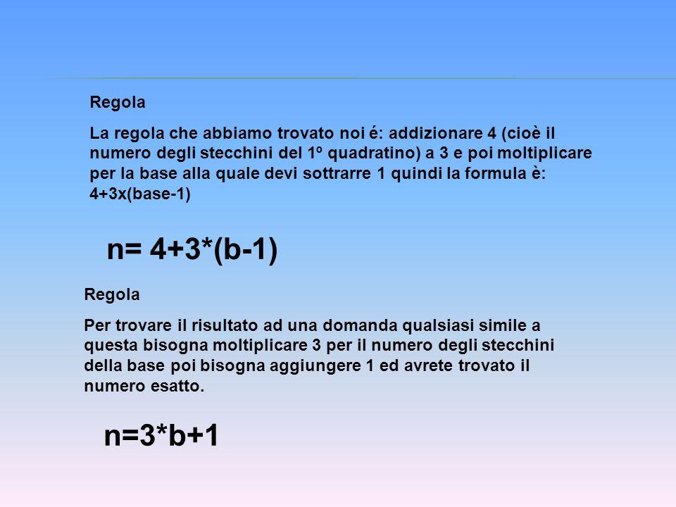 Regola La regola che abbiamo trovato noi é: addizionare 4 (cioè il numero degli stecchini del 1º quadratino) a 3 e poi moltiplicare per la base alla q