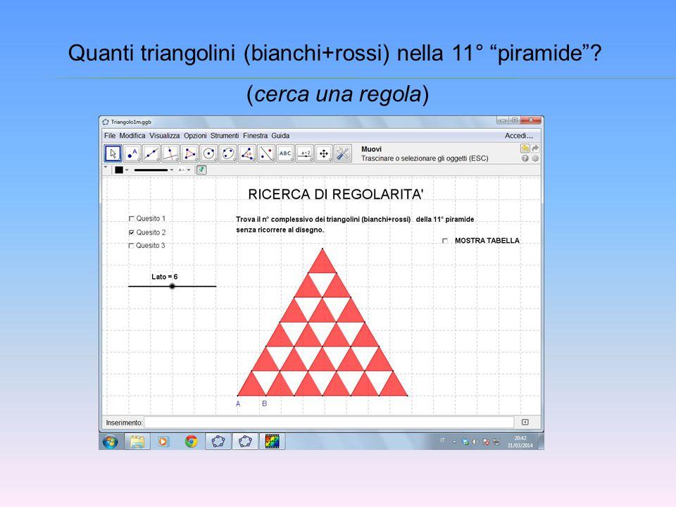 "Quanti triangolini (bianchi+rossi) nella 11° ""piramide""? (cerca una regola)"