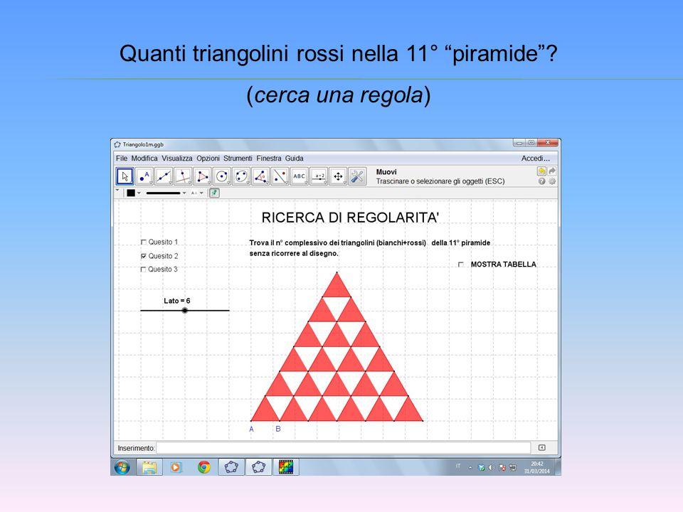 """Quanti triangolini rossi nella 11° """"piramide""""? (cerca una regola)"""