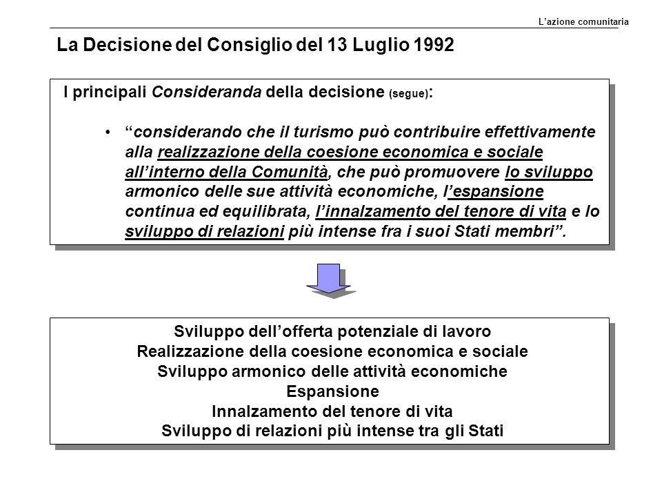 """La Decisione del Consiglio del 13 Luglio 1992 I principali Consideranda della decisione (segue) : """"considerando che il turismo può contribuire effetti"""