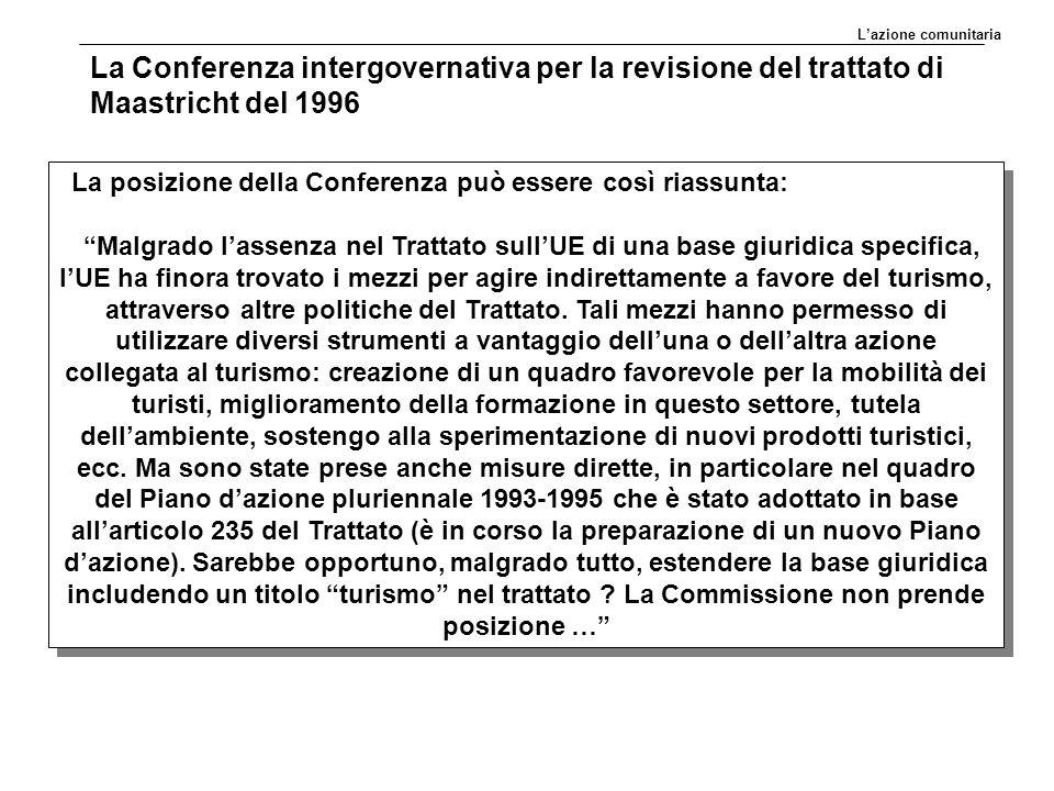 La posizione della Conferenza può essere così riassunta: Malgrado l'assenza nel Trattato sull'UE di una base giuridica specifica, l'UE ha finora trovato i mezzi per agire indirettamente a favore del turismo, attraverso altre politiche del Trattato.