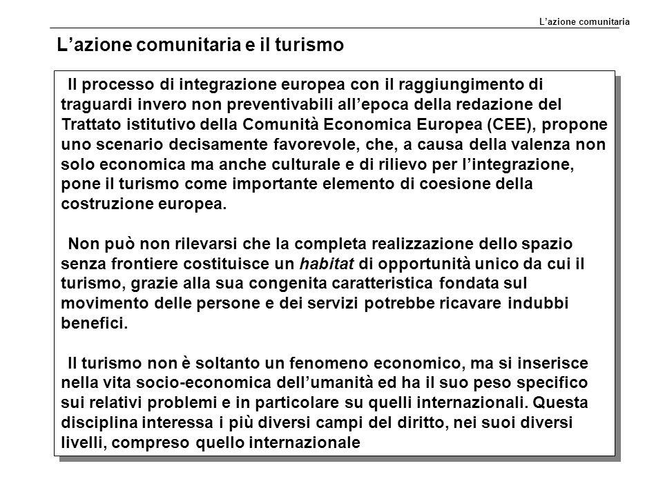 L'azione comunitaria e il turismo Il processo di integrazione europea con il raggiungimento di traguardi invero non preventivabili all'epoca della red