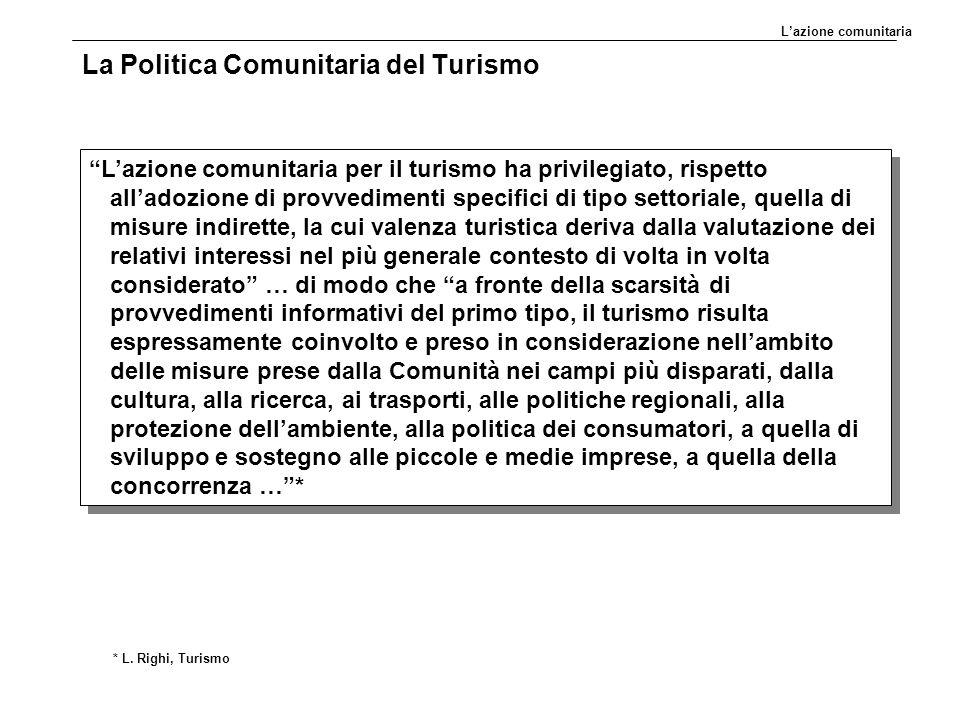 """La Politica Comunitaria del Turismo """"L'azione comunitaria per il turismo ha privilegiato, rispetto all'adozione di provvedimenti specifici di tipo set"""