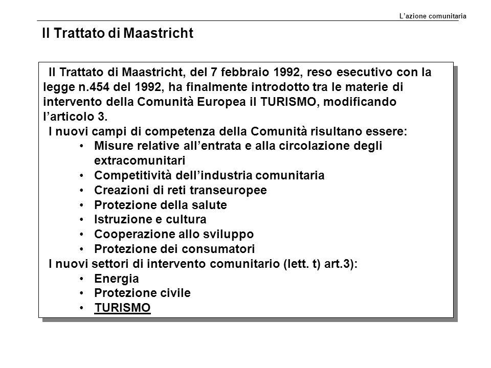 Il Trattato di Maastricht Il Trattato di Maastricht, del 7 febbraio 1992, reso esecutivo con la legge n.454 del 1992, ha finalmente introdotto tra le materie di intervento della Comunità Europea il TURISMO, modificando l'articolo 3.
