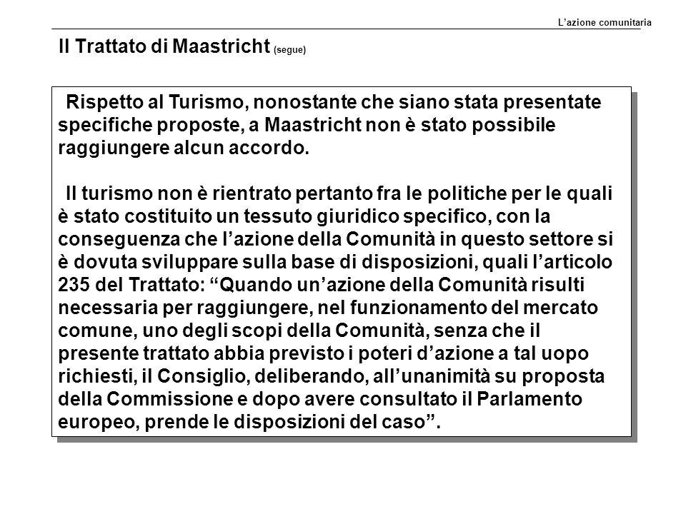 Il Trattato di Maastricht (segue) Rispetto al Turismo, nonostante che siano stata presentate specifiche proposte, a Maastricht non è stato possibile raggiungere alcun accordo.