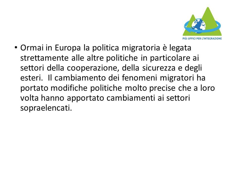 Ormai in Europa la politica migratoria è legata strettamente alle altre politiche in particolare ai settori della cooperazione, della sicurezza e degli esteri.