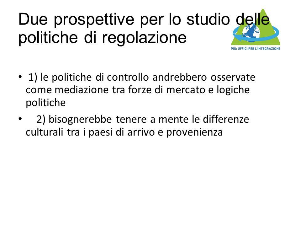 Due prospettive per lo studio delle politiche di regolazione 1) le politiche di controllo andrebbero osservate come mediazione tra forze di mercato e