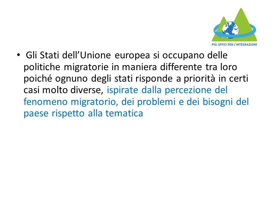 Gli Stati dell'Unione europea si occupano delle politiche migratorie in maniera differente tra loro poiché ognuno degli stati risponde a priorità in c