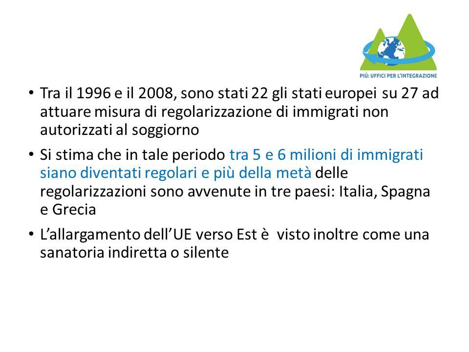 Tra il 1996 e il 2008, sono stati 22 gli stati europei su 27 ad attuare misura di regolarizzazione di immigrati non autorizzati al soggiorno Si stima che in tale periodo tra 5 e 6 milioni di immigrati siano diventati regolari e più della metà delle regolarizzazioni sono avvenute in tre paesi: Italia, Spagna e Grecia L'allargamento dell'UE verso Est è visto inoltre come una sanatoria indiretta o silente
