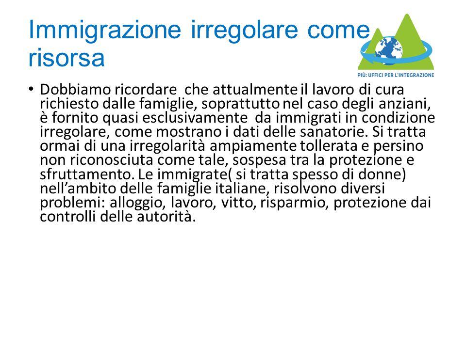 Immigrazione irregolare come risorsa Dobbiamo ricordare che attualmente il lavoro di cura richiesto dalle famiglie, soprattutto nel caso degli anziani, è fornito quasi esclusivamente da immigrati in condizione irregolare, come mostrano i dati delle sanatorie.