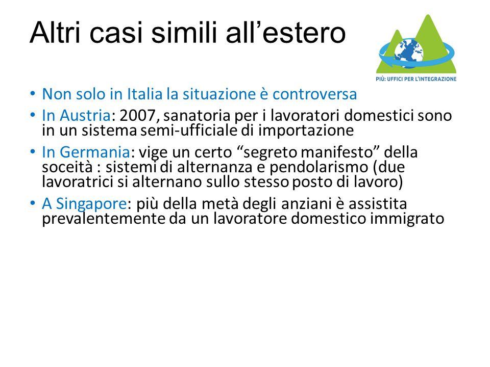 Altri casi simili all'estero Non solo in Italia la situazione è controversa In Austria: 2007, sanatoria per i lavoratori domestici sono in un sistema