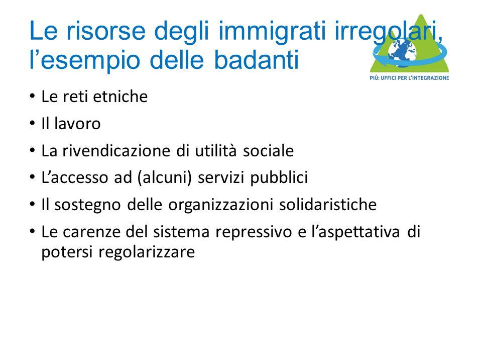 Le risorse degli immigrati irregolari, l'esempio delle badanti Le reti etniche Il lavoro La rivendicazione di utilità sociale L'accesso ad (alcuni) se