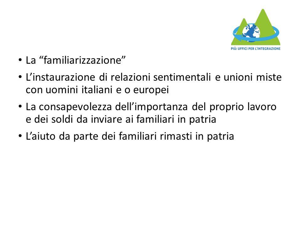 """La """"familiarizzazione"""" L'instaurazione di relazioni sentimentali e unioni miste con uomini italiani e o europei La consapevolezza dell'importanza del"""