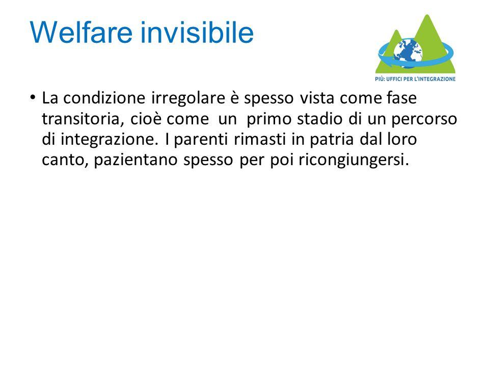 Welfare invisibile La condizione irregolare è spesso vista come fase transitoria, cioè come un primo stadio di un percorso di integrazione. I parenti
