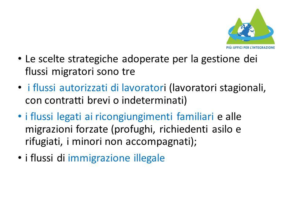 Le scelte strategiche adoperate per la gestione dei flussi migratori sono tre i flussi autorizzati di lavoratori (lavoratori stagionali, con contratti brevi o indeterminati) i flussi legati ai ricongiungimenti familiari e alle migrazioni forzate (profughi, richiedenti asilo e rifugiati, i minori non accompagnati); i flussi di immigrazione illegale