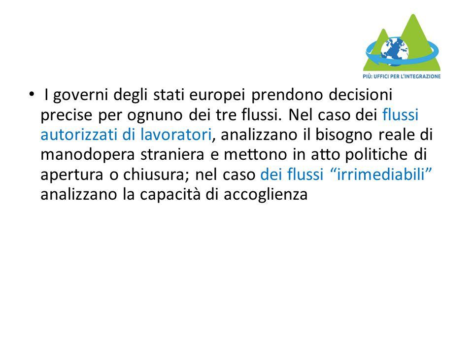 I governi degli stati europei prendono decisioni precise per ognuno dei tre flussi. Nel caso dei flussi autorizzati di lavoratori, analizzano il bisog
