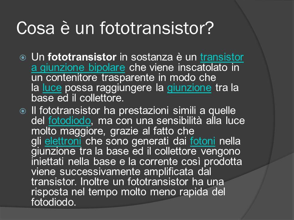 Cosa è un fototransistor?  Un fototransistor in sostanza è un transistor a giunzione bipolare che viene inscatolato in un contenitore trasparente in