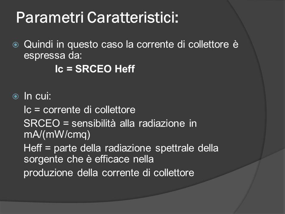 Parametri Caratteristici:  Quindi in questo caso la corrente di collettore è espressa da: Ic = SRCEO Heff  In cui: Ic = corrente di collettore SRCEO = sensibilità alla radiazione in mA/(mW/cmq) Heff = parte della radiazione spettrale della sorgente che è efficace nella produzione della corrente di collettore