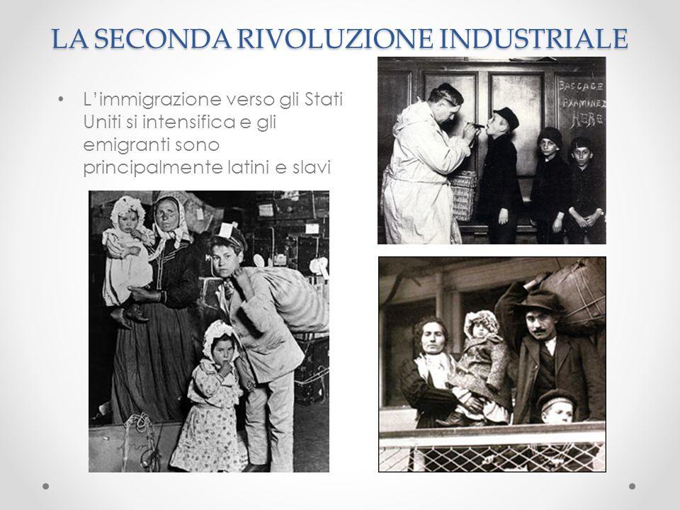 LA SECONDA RIVOLUZIONE INDUSTRIALE L'immigrazione verso gli Stati Uniti si intensifica e gli emigranti sono principalmente latini e slavi