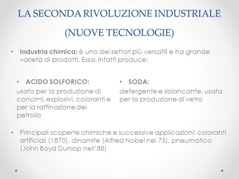 Industria chimica: è uno dei settori più versatili e ha grande varietà di prodotti. Essa, infatti produce: LA SECONDA RIVOLUZIONE INDUSTRIALE (NUOVE T