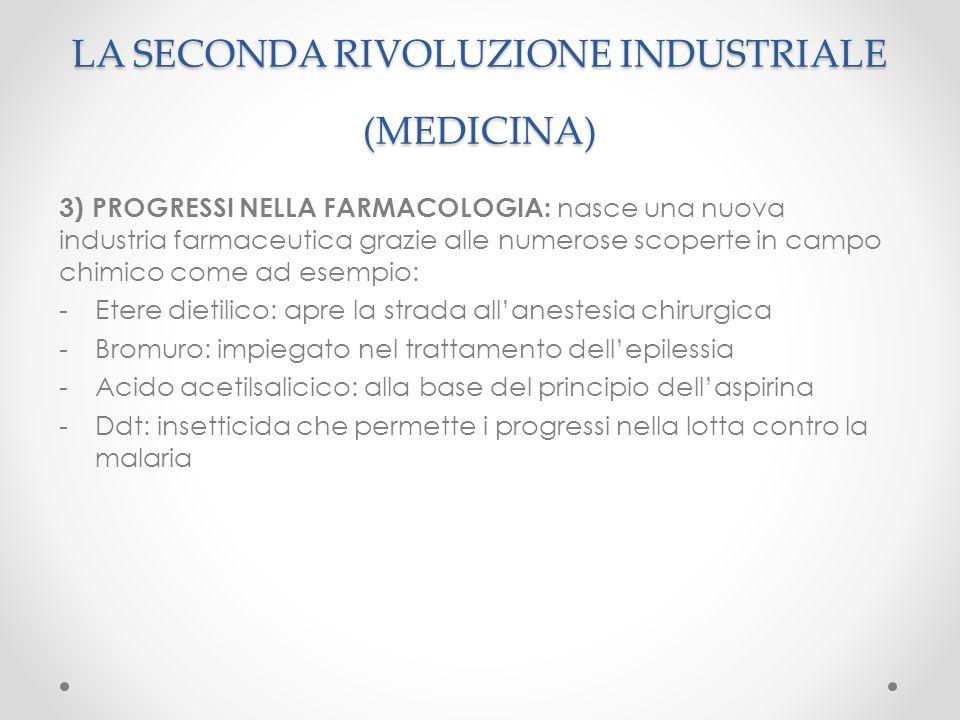 3) PROGRESSI NELLA FARMACOLOGIA: nasce una nuova industria farmaceutica grazie alle numerose scoperte in campo chimico come ad esempio: -Etere dietili