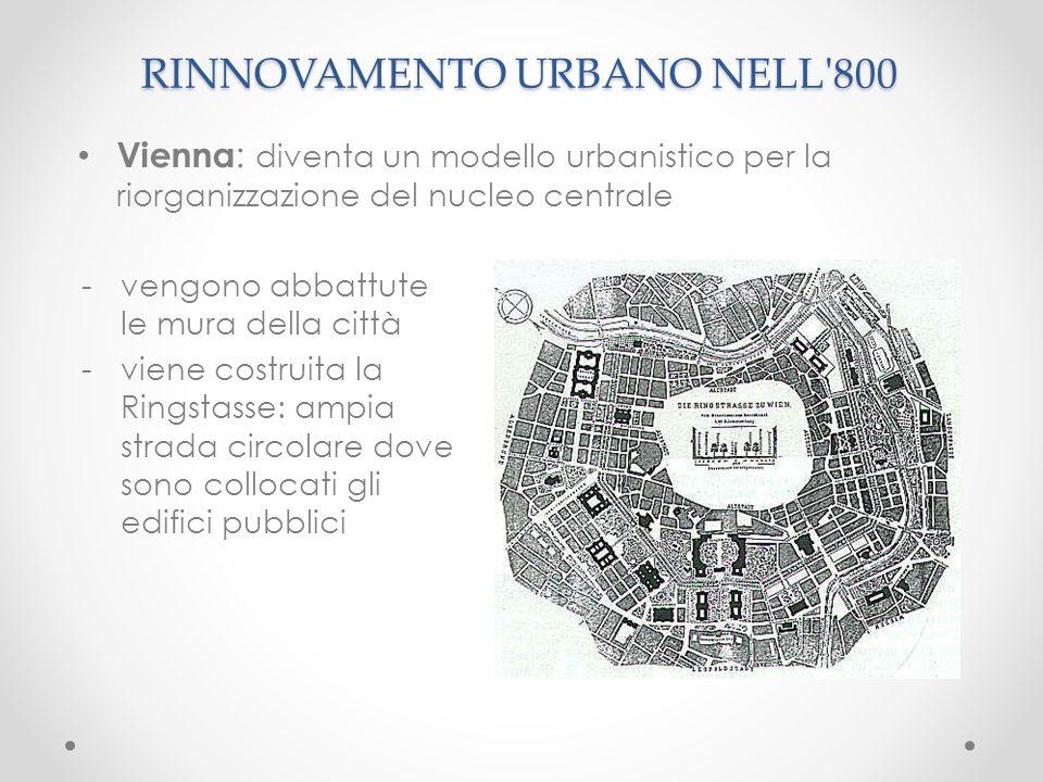 RINNOVAMENTO URBANO NELL'800 -vengono abbattute le mura della città -viene costruita la Ringstasse: ampia strada circolare dove sono collocati gli edi