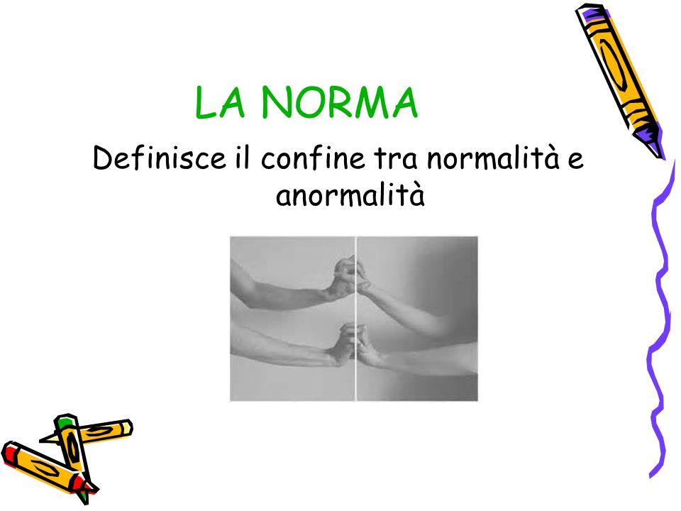LA NORMA Definisce il confine tra normalità e anormalità