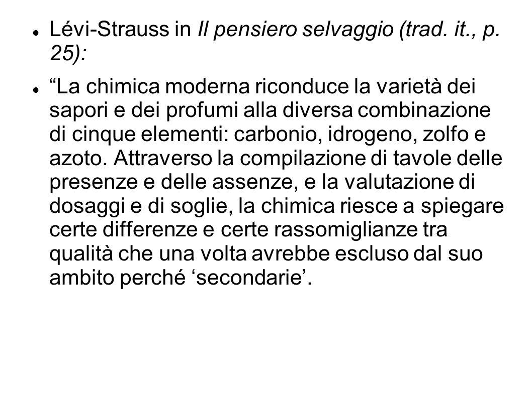 """Lévi-Strauss in Il pensiero selvaggio (trad. it., p. 25): """"La chimica moderna riconduce la varietà dei sapori e dei profumi alla diversa combinazione"""