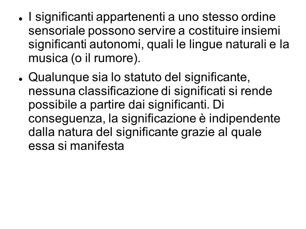 I significanti appartenenti a uno stesso ordine sensoriale possono servire a costituire insiemi significanti autonomi, quali le lingue naturali e la m