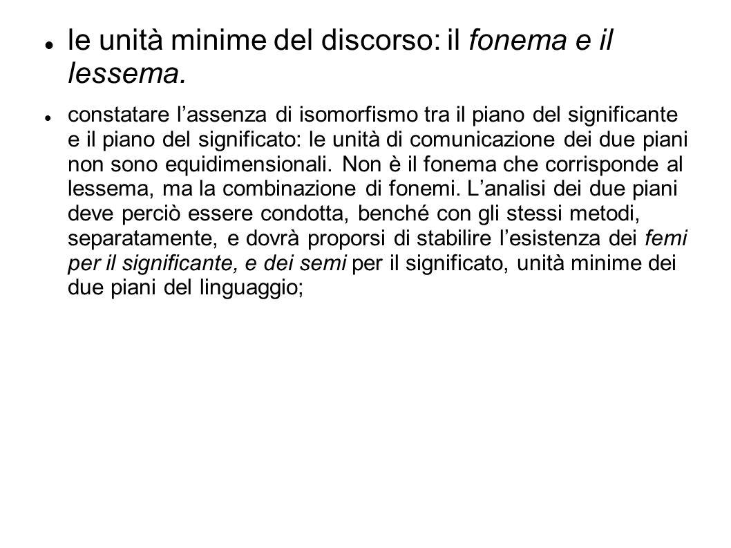 le unità minime del discorso: il fonema e il lessema. constatare l'assenza di isomorfismo tra il piano del significante e il piano del significato: le