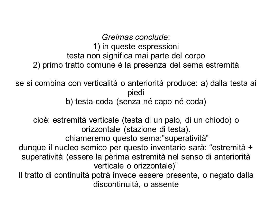 Greimas conclude: 1) in queste espressioni testa non significa mai parte del corpo 2) primo tratto comune è la presenza del sema estremità se si combi