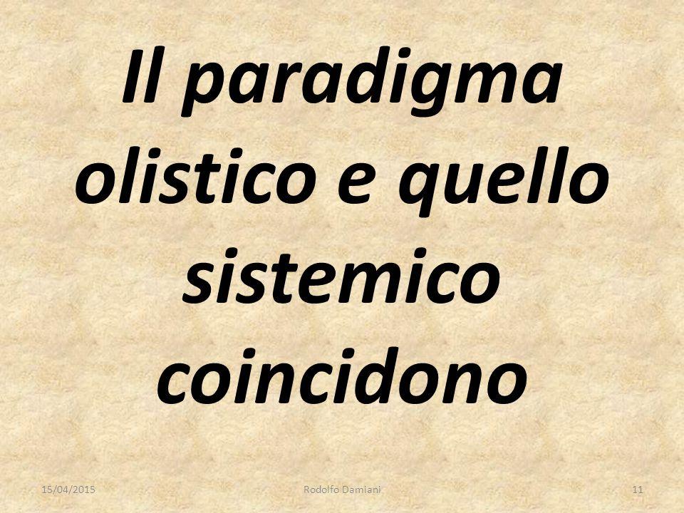 Il paradigma olistico e quello sistemico coincidono 15/04/2015Rodolfo Damiani11