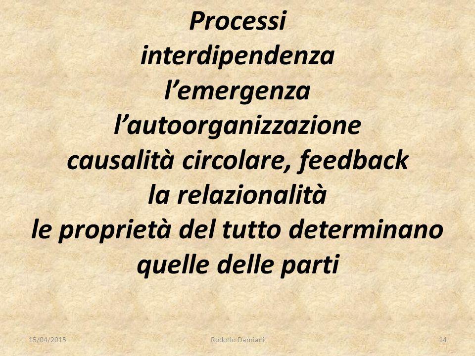 Processi interdipendenza l'emergenza l'autoorganizzazione causalità circolare, feedback la relazionalità le proprietà del tutto determinano quelle delle parti 15/04/2015Rodolfo Damiani14