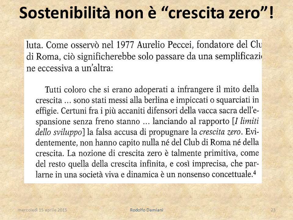 """Sostenibilità non è """"crescita zero""""! mercoledì 15 aprile 2015Rodolfo Damiani23"""