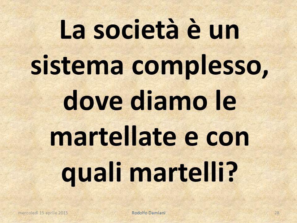 La società è un sistema complesso, dove diamo le martellate e con quali martelli? mercoledì 15 aprile 2015Rodolfo Damiani28