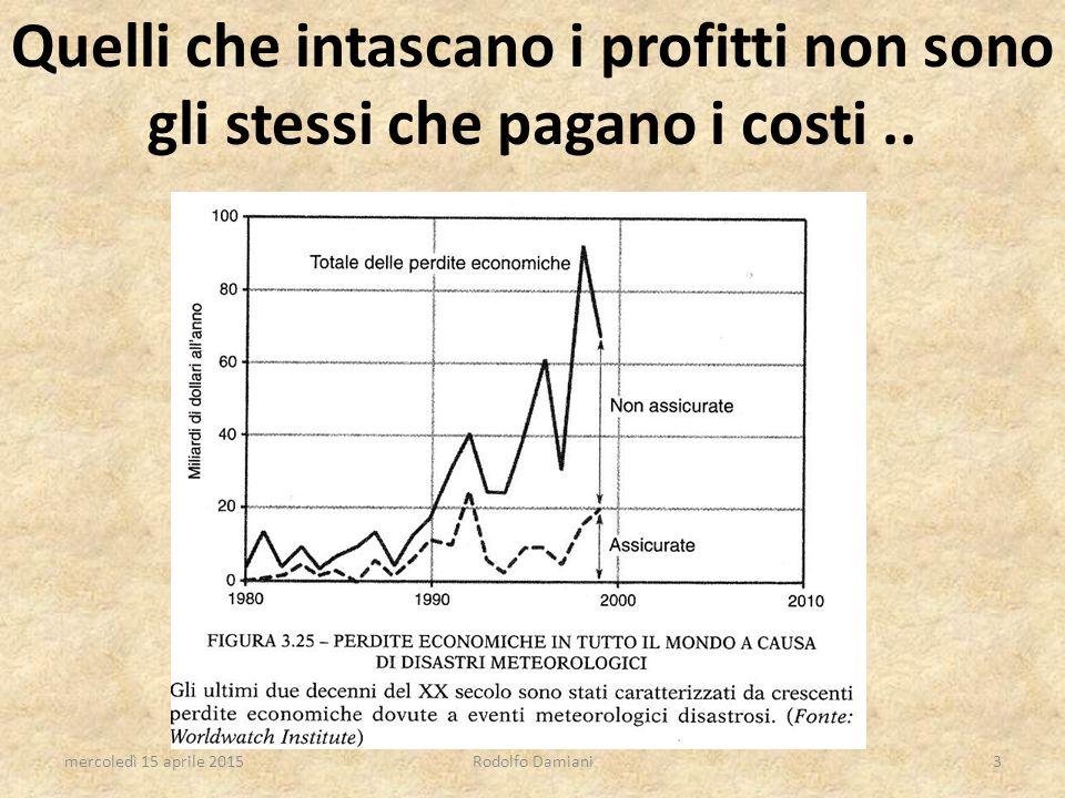 Quelli che intascano i profitti non sono gli stessi che pagano i costi.. mercoledì 15 aprile 2015Rodolfo Damiani3