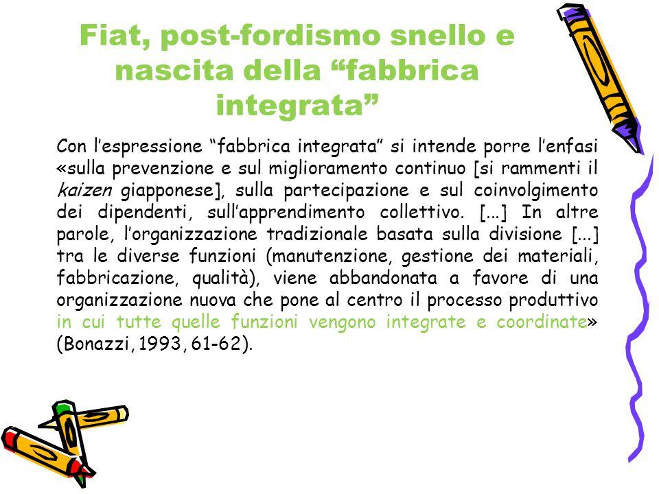 """Fiat, post-fordismo snello e nascita della """"fabbrica integrata"""" Con l'espressione """"fabbrica integrata"""" si intende porre l'enfasi «sulla prevenzione e"""