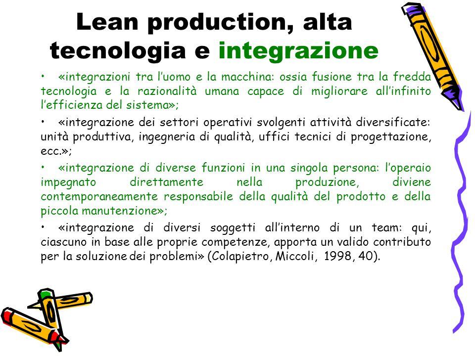 Lean production, alta tecnologia e integrazione «integrazioni tra l'uomo e la macchina: ossia fusione tra la fredda tecnologia e la razionalità umana
