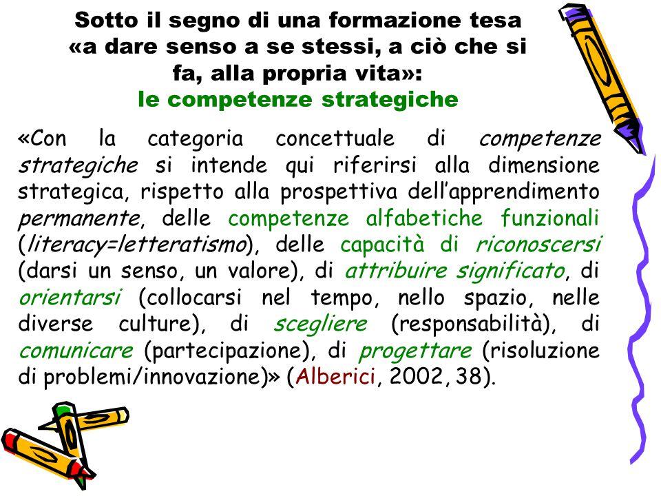 Sotto il segno di una formazione tesa «a dare senso a se stessi, a ciò che si fa, alla propria vita»: le competenze strategiche «Con la categoria conc