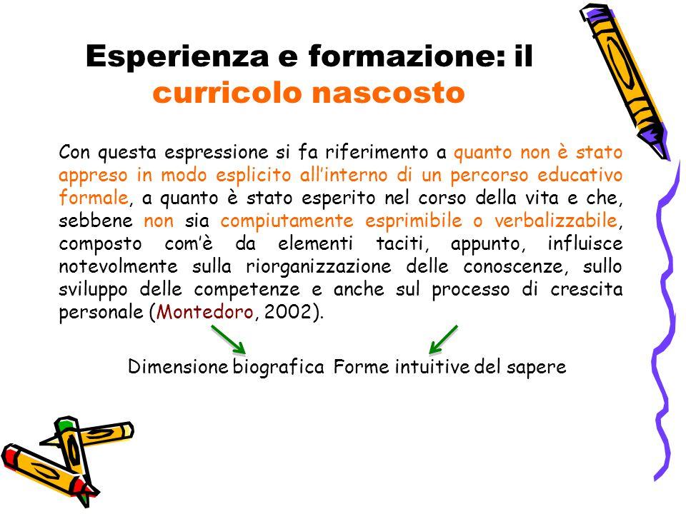 Esperienza e formazione: il curricolo nascosto Con questa espressione si fa riferimento a quanto non è stato appreso in modo esplicito all'interno di