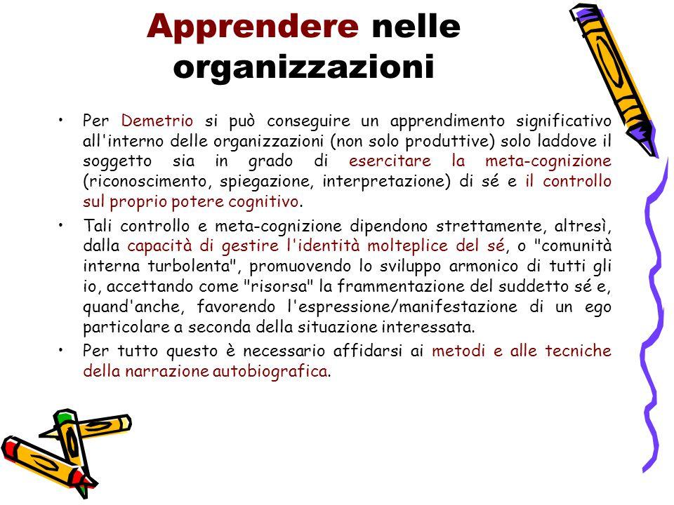 Apprendere nelle organizzazioni Per Demetrio si può conseguire un apprendimento significativo all'interno delle organizzazioni (non solo produttive) s