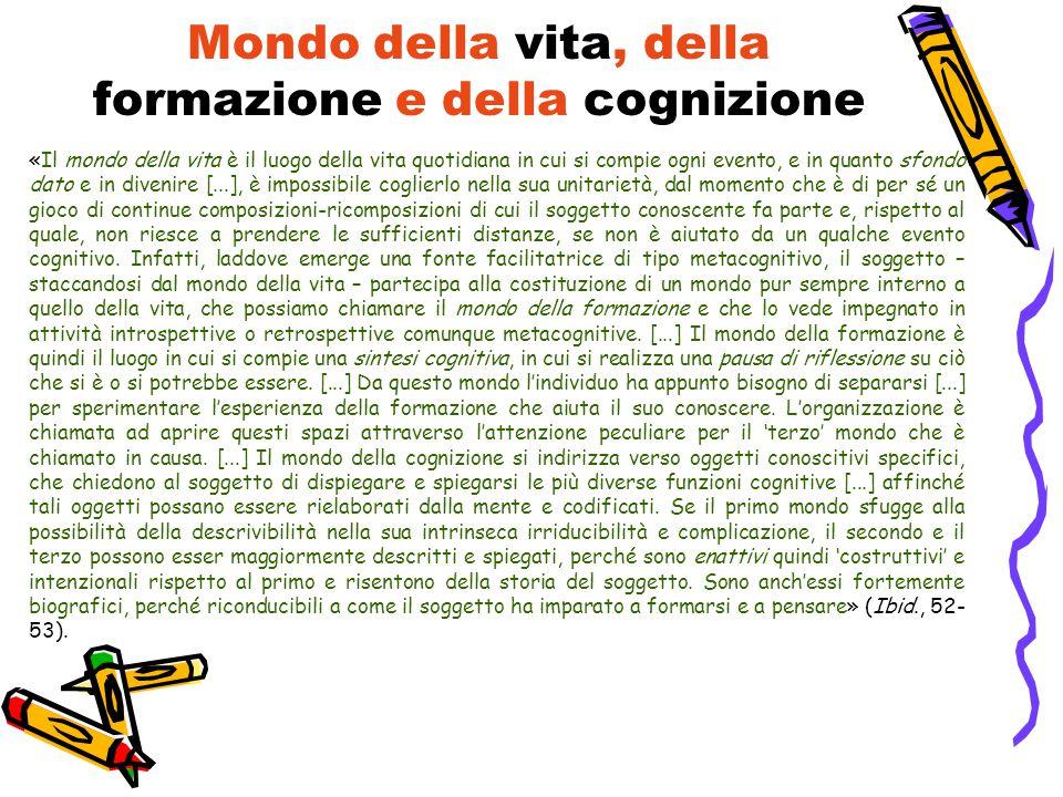 Mondo della vita, della formazione e della cognizione «Il mondo della vita è il luogo della vita quotidiana in cui si compie ogni evento, e in quanto